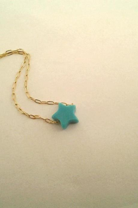 SALE, Star, Turquoise, Jewelry, necklace, birthstone, Dainty Howlite Turquoise stone star pendant necklace, tiny Turquoise charm, Birthsto