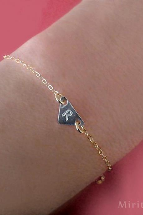 Initial Bracelet, personalized Bracelet, Birthday gift, custom ,monogram, jewelry, letter bracelet,bengle, Friendship, triangle, charm, gif