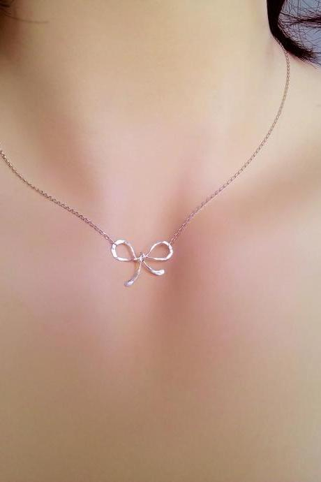 Love Knot choker, Bow necklace, dainty necklace, Birthday gift, Bridesmaid Gifts, sister, mom gift, girl, wife, best friend, bow