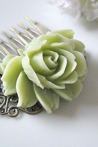 Nile Green Rose Flower Antique Brass Art Nouveau Filigree Hair Comb