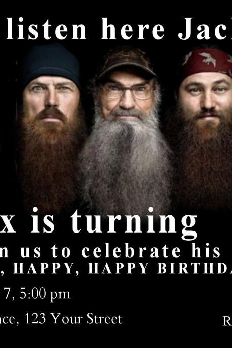 Duck Dynasty Invitation, Birthday Party Invitation, with or without photo