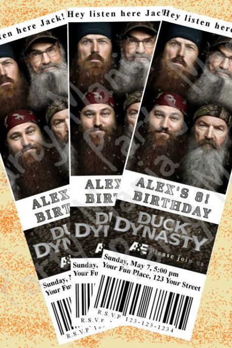 Duck Dynasty Ticket Invitation, Birthday Party Invitation, with or without photo