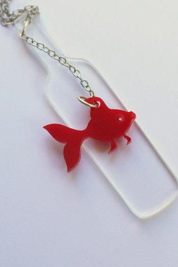 Drunk Fish Necklace,Plexiglass Jewelry,Lasercut Acrylic,GiftsUnder 25