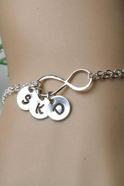 Infinity initial bracelet,Ithree initial charms,Family initials, sisters, Best friends,infinity bracelet,Personalized