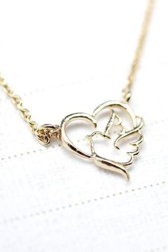 Sentimental Journey Heart and Bird Necklace in Gold