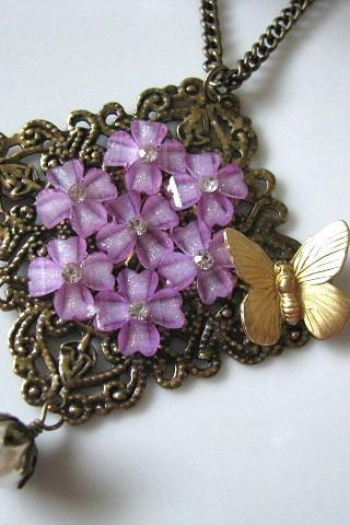Lavender Flowers Vintage Collage Necklace With Brass Butterfly And White Glass Pearl - Romantic Purple, Antique Brass Filigree, Rhinestone Crystals