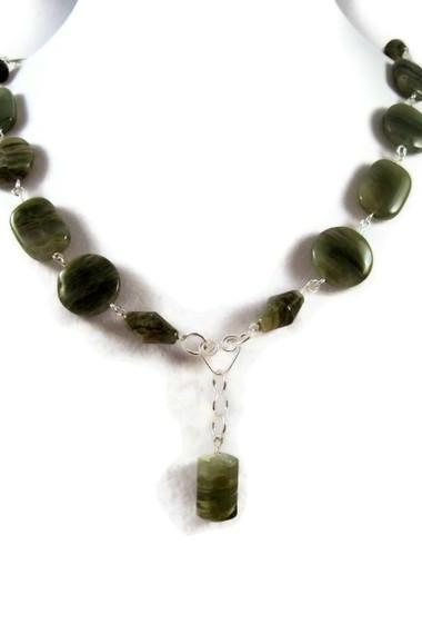 Necklace, Green Jade Gemstone Necklace with Jade Barrel Pendant Hanging from Heart Shaped Wire Connector