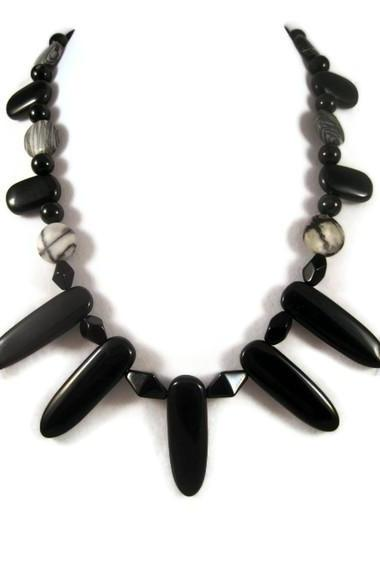 Necklace, Zebra Jasper Gemstones and Black Onyx Stone Necklace with Bib like or Fanned Style Design