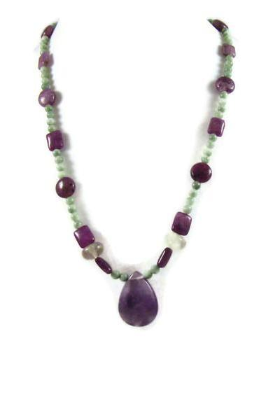 Necklace, Fluorite Purple Teardrop Pendant on Fluorite Beaded Necklace with Silver Lobster Clasp