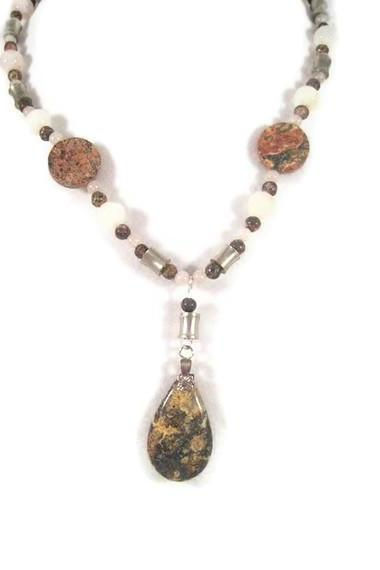 Necklace, Jasper Beaded Necklace with Dangling Jasper Teardrop Pendant