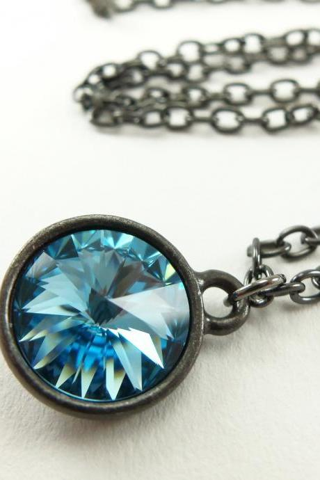 Aquamarine Crystal Necklace March Birthstone Jewelry Dark Silver Necklace Rivoli