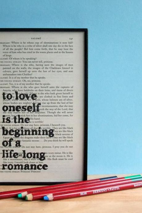 Oscar Wilde Quote Love Oneself Framed Art on upcycled book page