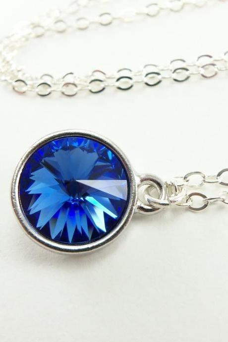 Sapphire Blue Sterling Silver Necklace September Birthstone Jewelry Blue Crystal Necklace Sapphire Pendant Rivoli