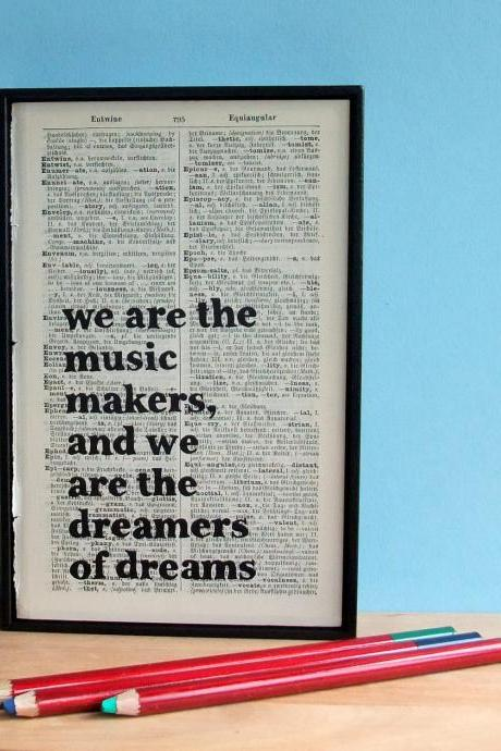 Altered book art We are the Music Makers Original Framed Typographical Art