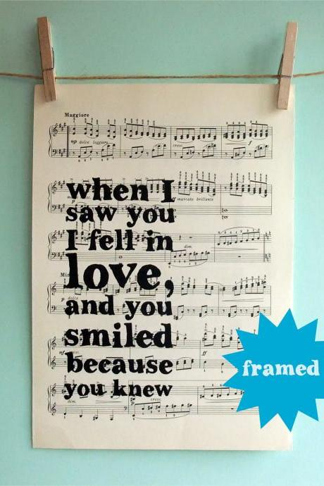 Romantic Inspirational Quote Typographic Framed Art Print on Vintage Sheet Music