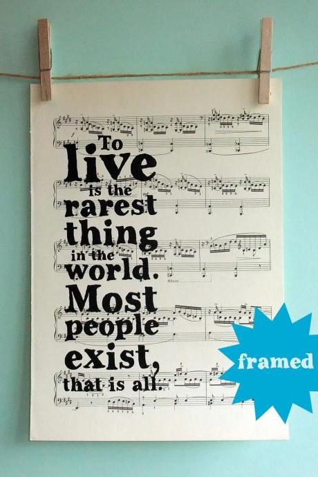 Oscar Wilde Inspirational Quote Typographic Framed Art Print on Vintage Sheet Music
