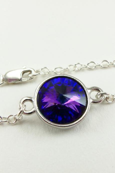 Sterling Silver Chain Bracelet Modern Jewelry Simple Classic Crystal Blue Purple Jewelry Rivoli