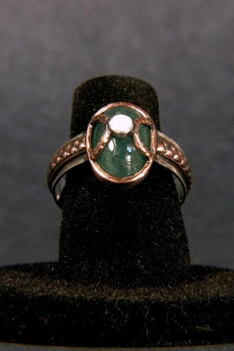 5 Carats Natural Emerald Silver Ring
