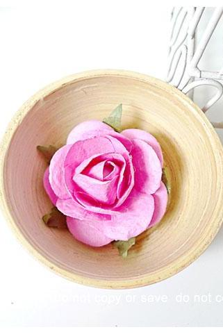 2 Rose Big paper flower pink / pack