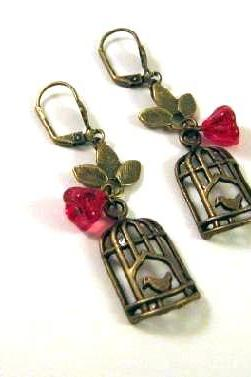 Bronzed birdcage earrings jewelry with leaves and red flower