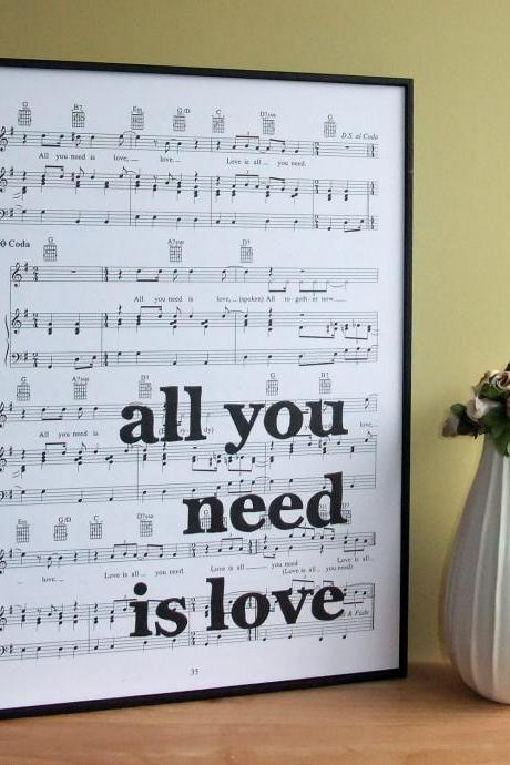 Beatles Lyrics Typographic Art Print on Framed Sheet Music 'all you need is love'