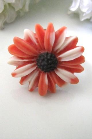 Orange And White Daisy Adjustable Ring