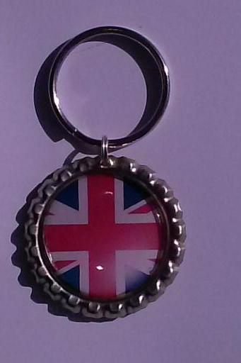 British Flag Bottle Cap Key Chain or Zipper Pull Perfect Gift For 1D One Direction Fans!