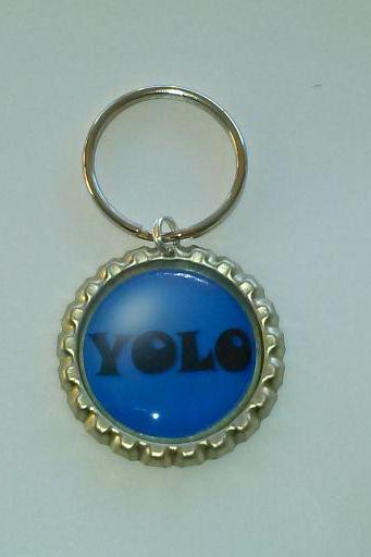YOLO You Only Live Once Bottle Cap Key Chain or Zipper Pull Blue