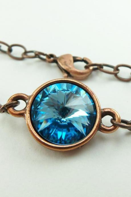 Copper Jewelry Aquamarine Bracelet Modern Copper Aqua Crystal Copper Chain Bracelet