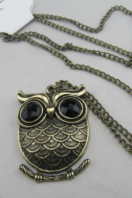 Owl Necklace, Metal Necklace, Rhinestone Necklace, Owl Necklace Jewelry, Owl Necklace Long, Free Shipping