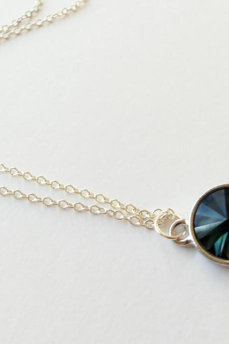 Blue Necklace Blue Crystal Pendant Sterling Silver Necklace Minimalist Necklace Rivoli