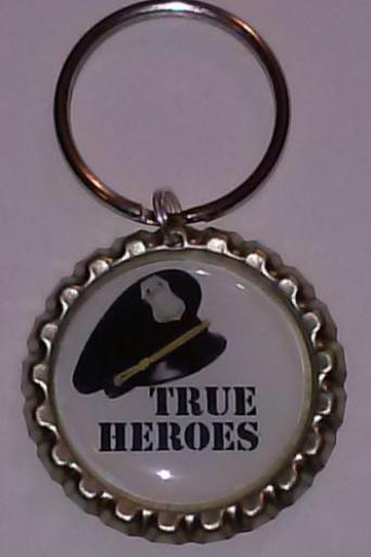 Police Officer True Hero Bottle Cap Key Chain or Zipper Pull