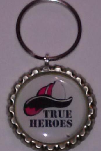 Firefighter True Hero Bottle Cap Key Chain or Zipper Pull