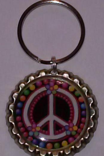 Colorful Bubble Peace Sign Bottle Cap Key Chain or Zipper Pull