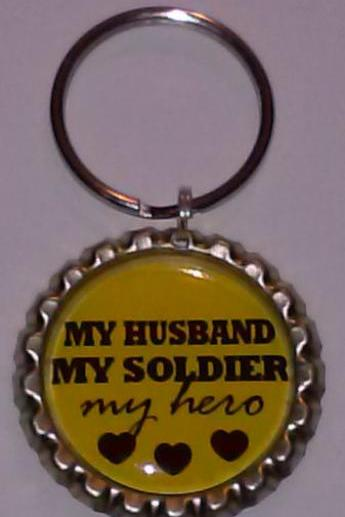 My Husband My Soldier My Hero Bottle Cap Key Chain or Zipper Pull