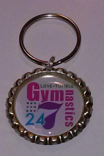 Gymnastics 24/7 Bottle Cap Key Chain or Zipper Pull