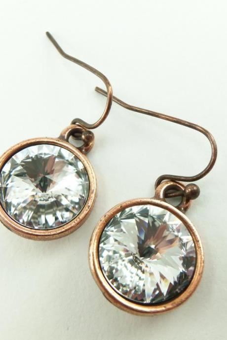 Clear Crystal Copper Earrings Crystal Drop Earrings Swarovski Crystal Earrings Clear Crystal Jewelry