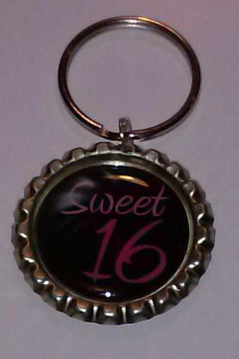Sweet 16 Bottle Cap Key Chain or Zipper Pull