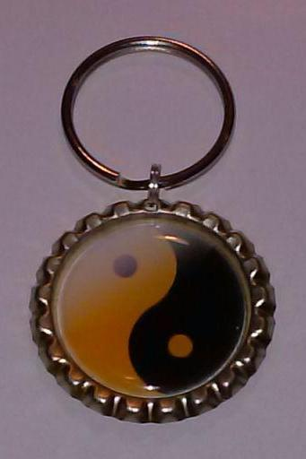 Yin Yang Bottle Cap Key Chain or Zipper Pull
