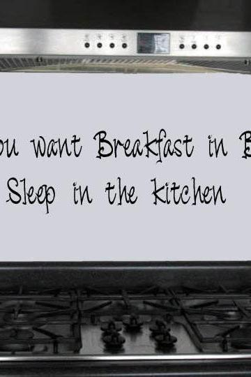 Kitchen Decal - breakfast in bed WAB Team UK Seller