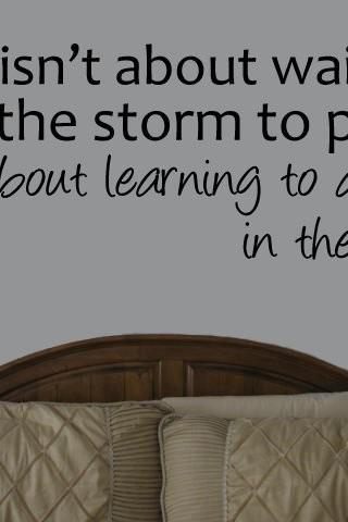 Life isn't about waiting for the storm to pass, vinyl decal WAB Team UK