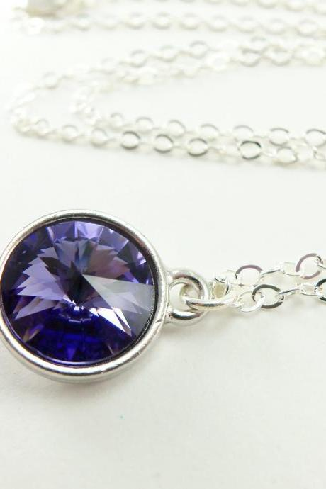 Purple Crystal Necklace Violet Jewelry Crystal Pendant Sterling Silver Necklace Minimalist Necklace Rivoli