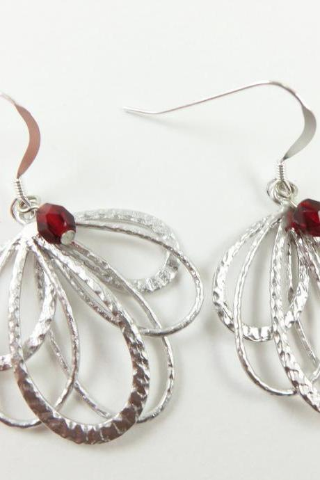 Silver Earrings Red Jewelry Metal Feather Loopy Earrings Sterling Silver