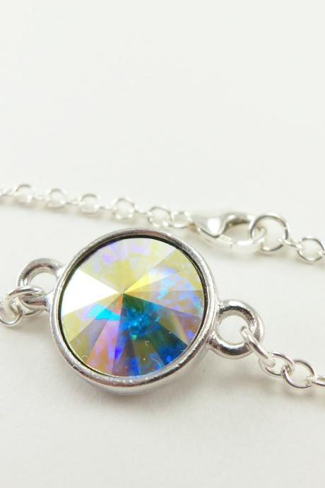 Clear Crystal Bracelet Sterling Silver Aurora Borealis Jewelry Wedding Bracelet Bridal Jewelry