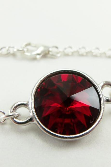 Dark Red Bracelet Blood Red Jewelry Sterling Silver Chain Bracelet Crystal Jewelry Red Crystal January Birthstone