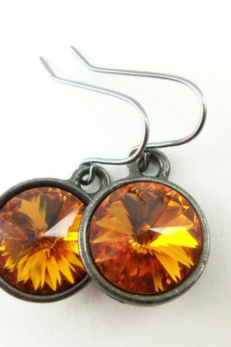 Citrine Earrings Orange Drop Earrings Orange Crystal November Birthstone Jewelry Citrine