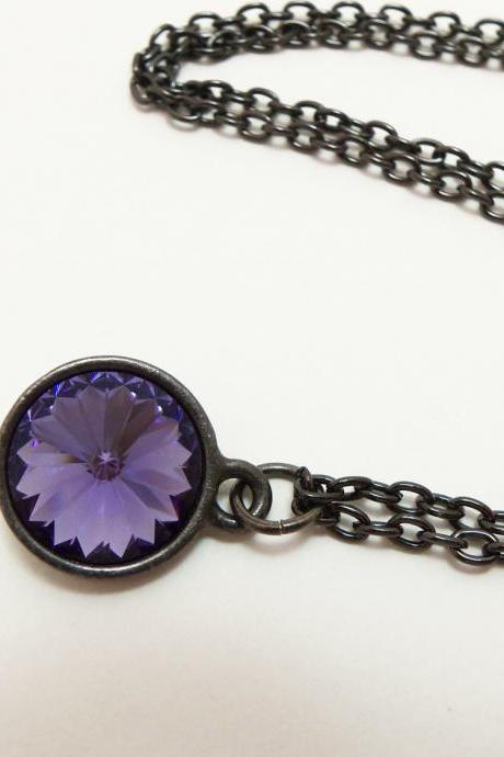 Royal Purple Necklace Crystal Necklace Warm Purple Dark Silver Necklace Rivoli