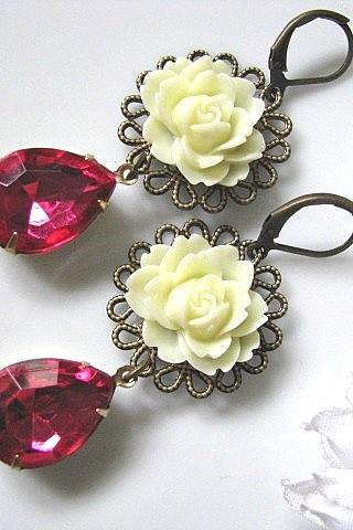 Ivory Cabbage Rose Flower With Vintage Faceted Pink Teardrops Glass Jewels Earrings - Gift For Her, Gift For Mum