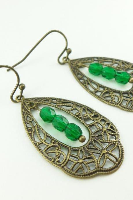 Green Earrings Brass Filigree Teardrop Earrings Victorian Style Dangle Earrings