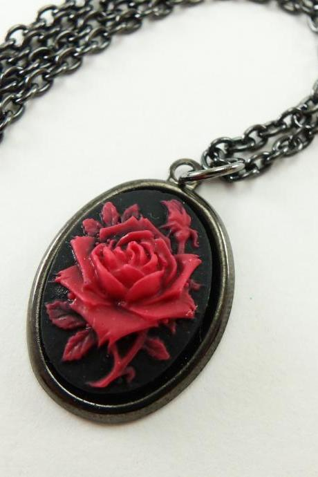 Black and Red Rose Necklace Dark Rose Jewelry Gunmetal Dark Silver Necklace Victorian Style Jewelry